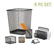 Mind Reader 6 PC Mesh Desk Organizer Set with Trash Can, Black, (6MGDORG-BLK)