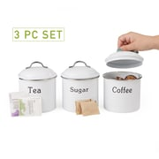 Mind Reader 3 Piece Coffee, Sugar,Tea Metal Canister Set, White (CANCTS-WHT)