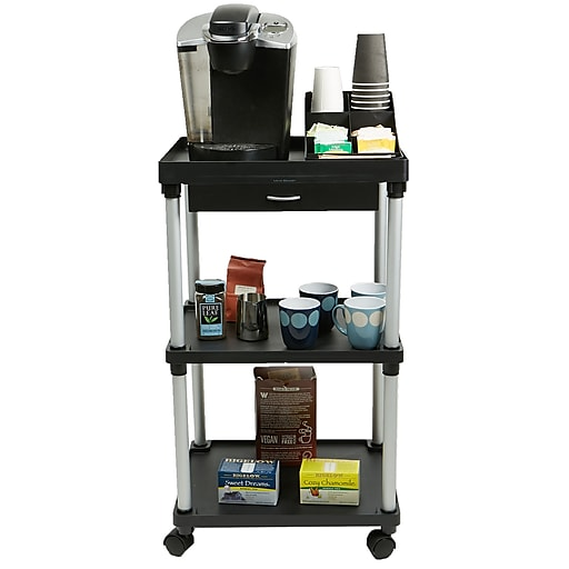 Mind Reader 'Valet' 3 Tier Rolling Coffee Cart, Organizer included, Black, (CARTCOFF-BLK) at Staples