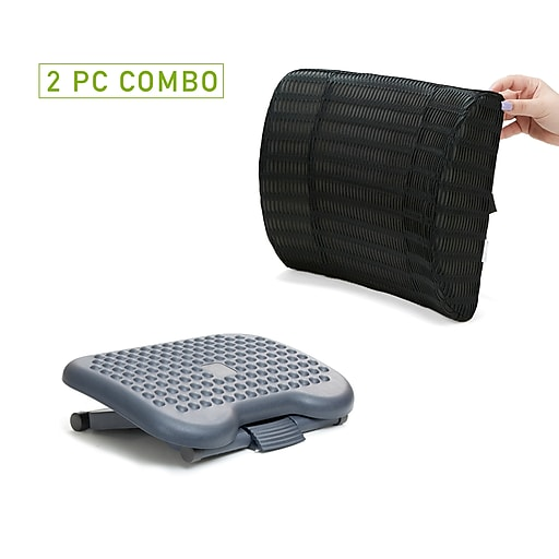 Mind Reader Memory Foam Lumbar Support Cushion And Adjustable Ergonomic Non Slip Foot Rest Combo Black Cmbftfoam Blk