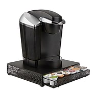 Mind Reader 36 Capacity K-Cup Single Serve Coffee Pod Storage Drawer with Flower Pattern Metal Mesh, Black (MTRAY-BLK)