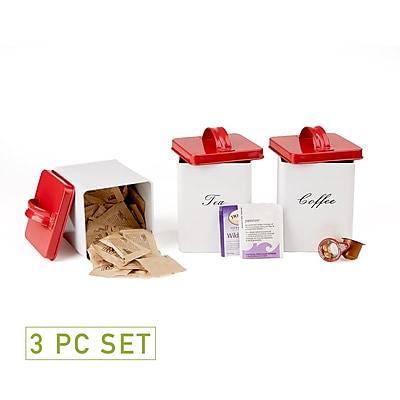 Mind Reader 3 Piece Sugar,Tea,Coffee Metal Canister Set, White (SANCAN3-WHT)