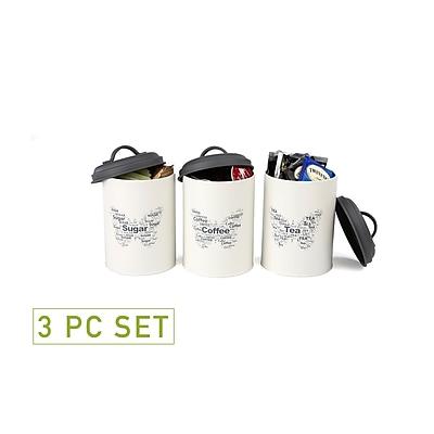 Mind Reader 3 Piece Sugar, Tea, Coffee Metal Canister Set, White (STCAN3-WHT)