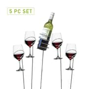 Mind Reader 'Picnic' Wine Bottle and Glass Holder Sticks, 5 Piece Set (WSTIX5-SIL)