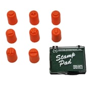 "Finger Paint, Stampers, 8 Designs, 1-3/8"" high x 3/4"" diameter, 8/pkg with Stamp Pad"