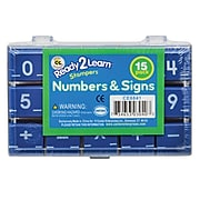 """Center Enterprises Ready2Learn 1"""" Numbers & Signs Stamps, 15/Pack, Ages 5+ (CE-6841)"""