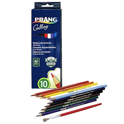 Dixon Ticonderoga® Prang® Watercolor Pencil With Brush, Assorted, 10/BX, 4 BX/BD