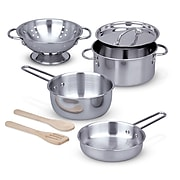 Lets Play House Pots & Pans Set, Stainless Steel, 5 inch diameter, Set of 8 (LCI4265)