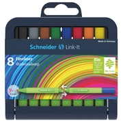 Schneider Link-It, Fine Liner .4mm Pens, Assorted Colors, 8/Pk (STW191292)