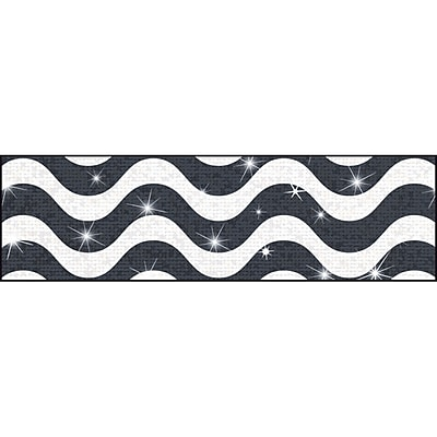 Trend Enterprises® Toddler - 12th Grade Sparkle Plus Bolder Border, Black Wavy, 10/Pack