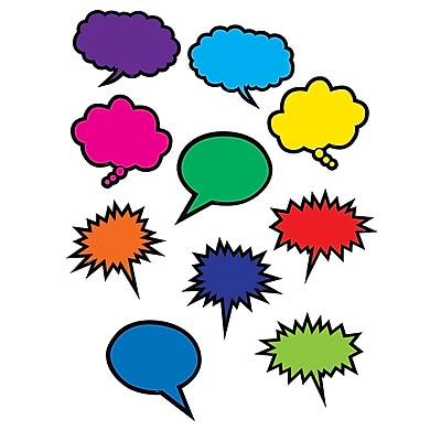 Teacher Created Resources Colorful Speech/Thought Bubbles Accents, 30/Pack (TCR2145)