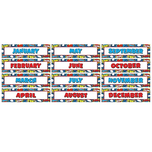 Teacher Created Resources Superhero Monthly Headliners, 12/Pack (TCR5590)