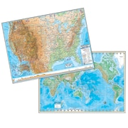 "Kappa May Group/Universal Maps US & World Advanced Physical Laminated Rolled Map Combo, 48"" x 36"""