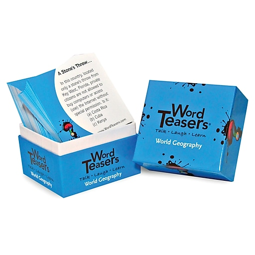 """Word Teasers® 3"""" x 3"""" World Geography Flash Card, Grades 3 - 6, 150/Pack"""