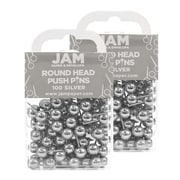 JAM Paper® Colorful Push Pins, Silver Pushpins with Round Top, 200/Pack