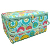 "Vivace Large Sewing Basket, Floral Wheel, 15"" x 10"" x 8"" (3025652)"