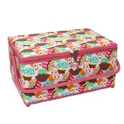 "Vivace Large Sewing Basket, Cupcakes, 15"" x 10"" x 8"" (30256640)"