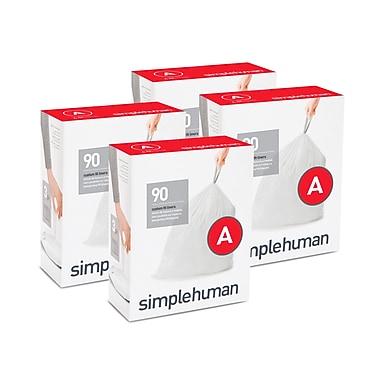 simplehuman® Custom Fit Garbage Bin Liners, White, Code A, 90/Pack, 4 Packs (CW0250)