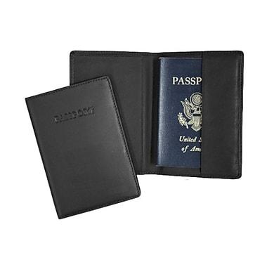Royce Leather – Pochette de passeport gravé, noir (203-BLACK-5)