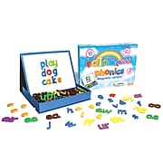 """Junior Learning 6.5"""" x 6.5"""" Rainbow Phonics Magnetic Letters & Built-in Magnetic Board, Assorted Colors (JRL194)"""