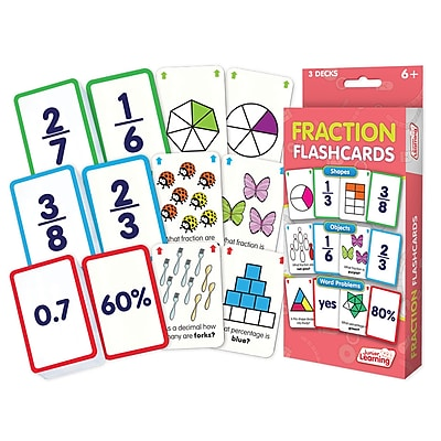 Fraction Flash Cards for grades 2-6, 1 pack of 162 cards (JRL212)