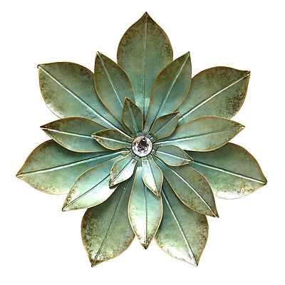 Stratton Home Decor Green Embellished Flower Wall Décor (S07659)