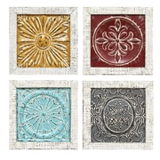 Stratton Home Decor Set of  4 Accent Tile Wall Art (S07709)