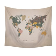"""Stratton Home Decor """"Adventure Await"""" Map Wall Tapestry 50""""H x 57.5""""W (S07749)"""