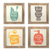 Stratton Home Decor Set of 4 -Floss, Flush, Wipe, Wash Wall Art (S07752)