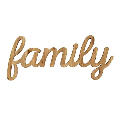 Stratton Home Decor Family Natural Wood Script Wall Art (S07755)