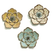Stratton Home Decor Set of 3 Rustic Flower  Wall Décor (S09593)