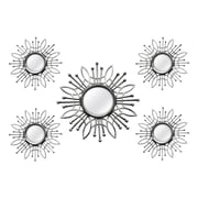 "Stratton Home Decor 5 Piece Silver Burst Wall Mirror, 15.50""H 15.50""W (Shd0257)"