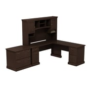 Bush Business Syndicate 72W x 72D L-Desk with Hutch and Lateral File, Mocha Cherry