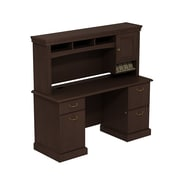 Bush Business Syndicate 60W x 22D Double Pedestal Desk with Hutch, Mocha Cherry