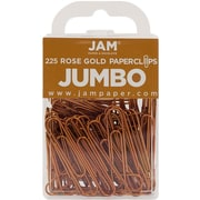 JAM Paper® Colorful Jumbo Paper Clips, Large 2 Inch, Rose Gold Paperclips, 225/Pack (21832059B)