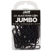 JAM Paper® Colorful Jumbo Paper Clips, Large 2 Inch, Black Paperclips, 225/Pack (2184933B)