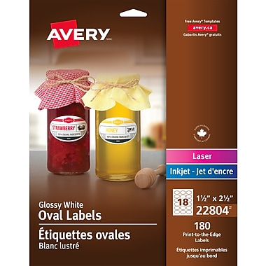 Avery® Glossy White Laser/Inkjet Permanent Print-to-the-Edge Oval Labels, 1-1/2