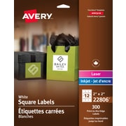 Avery® - N° 22806, Étiquettes carrées blanches, pour impression jusqu'au bord, permanentes, 2 po x 2 po