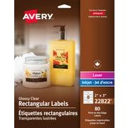 AveryR Clear Glossy Laser Inkjet Print To The Edge Rectangular Labels