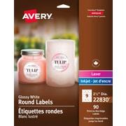 Avery® – Étiquettes rondes blanches glacées 22830, diamètre de 2 1/2 po, paq./90