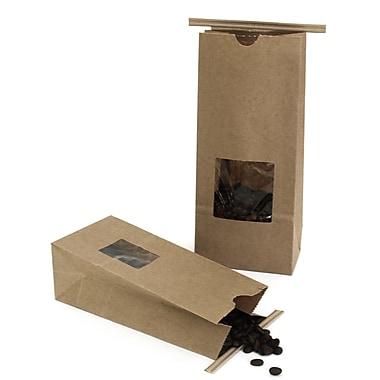 Creative Bag Coffee Bag With Tin Tie, 1lb, Natural Kraft, Windowed, 300/Pack