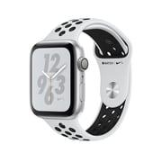 Apple Watch Nike+ Series 4, GPS, 44 mm, boîtier en aluminium argent, bracelet sport Nike platine pur/noir