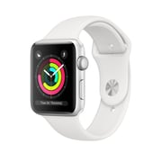 Apple Watch Series 3, GPS, 38mm, Silver Aluminium Case with White Sport Band