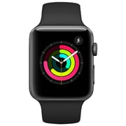 Apple Watch Series 3, GPS, 42mm, Space Grey Aluminium Case with Black Sport Band