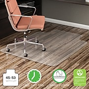 """Deflect-O® EconoMat Chairmats for Bare Floors, 45x53"""" Overall, 25x12"""" Lip"""