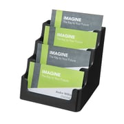 Deflect-O® Four-Pocket Desktop Business Card Holders, Black