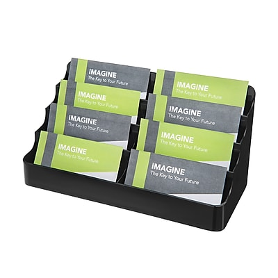 Deflect-O® Eight-Pocket Desktop Business Card Holders, Black