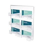 Deflect-O® Six-Pocket Wall-Mount Business Card Holder, Clear