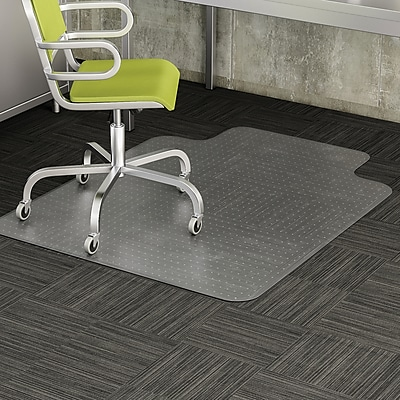 Deflecto 48''x36'' Vinyl Chair Mat for Carpet, Rectangular w/Lip (DEFCM13113COM)