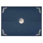 St. James® Elite Medallion Fold Certificate Holders, Linen, Navy Blue with Silver Medallion, 5/Pack
